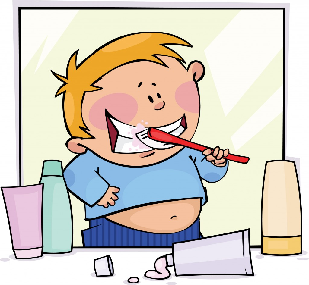 Cartoon of child brushing their teeth